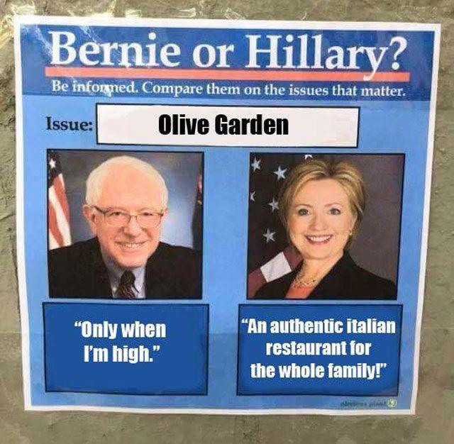 Bernie vs HIllary Meme Olive Garden