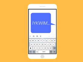 A graphic of a text message that says IYKWIM on an iPhone.