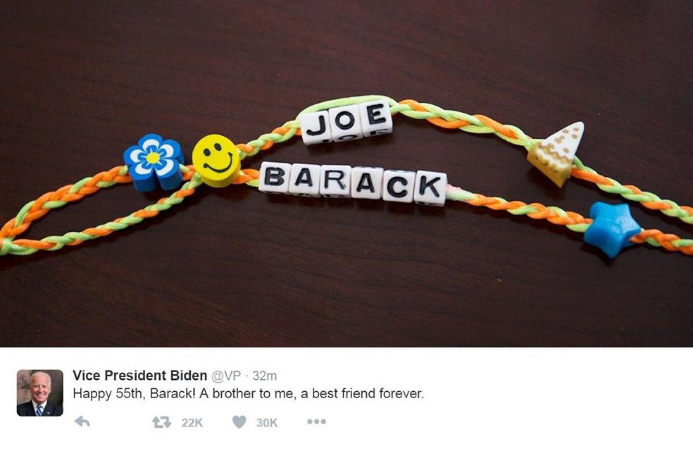 Two friendship bracelets, one says Barack and one says Joe