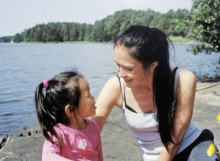 Close-up of a mature women talking to her daughter