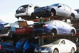 Vehicles in a junkyard