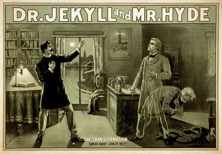 "Theatrical poster from a stage version of ""Strange Case of Dr. Jekyll and Mr. Hyde."""