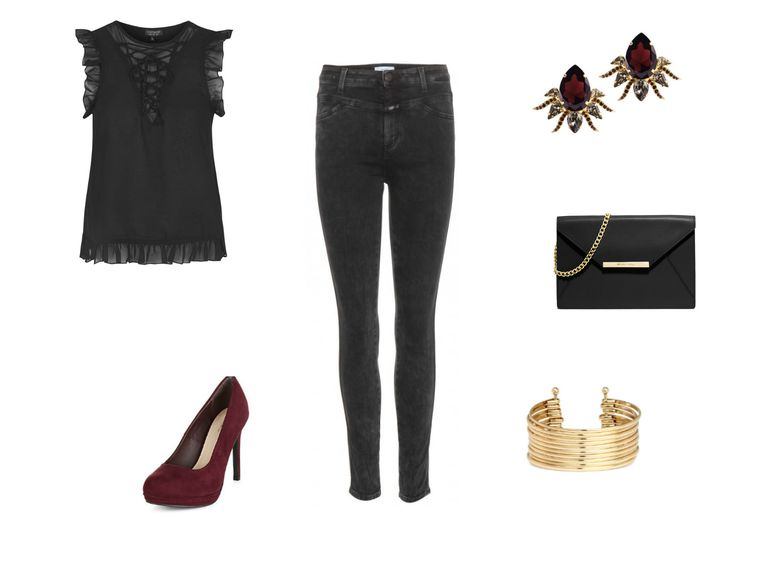 d377ad4fad2e Holiday Dinner Party Outfit. Black top and jeans outfit