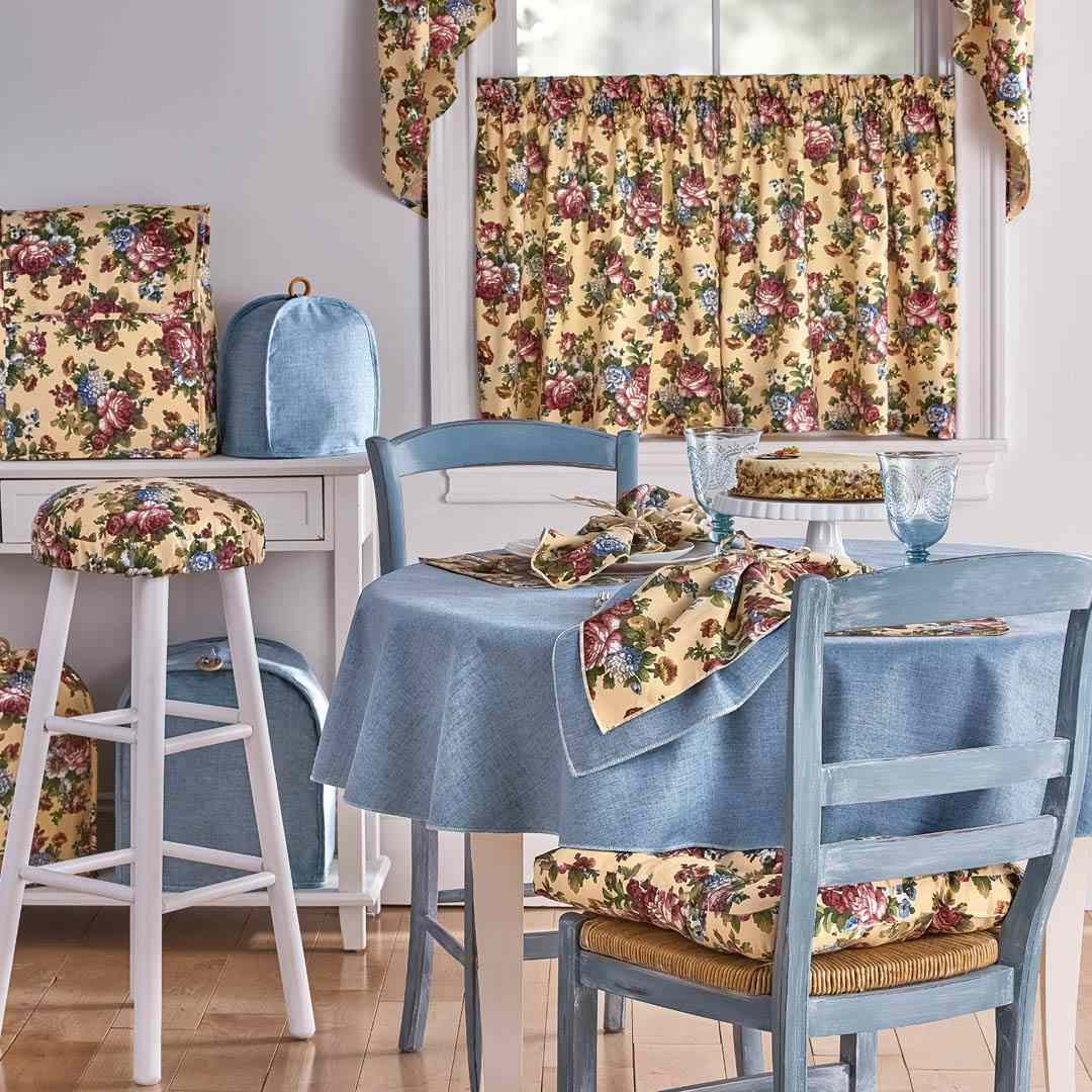 A blue and floral kitchen sold by Blair