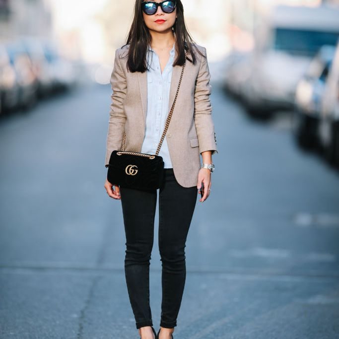3e95098e19036 Go-to Office Outfit: Black Skinny Jeans and Light Blazer