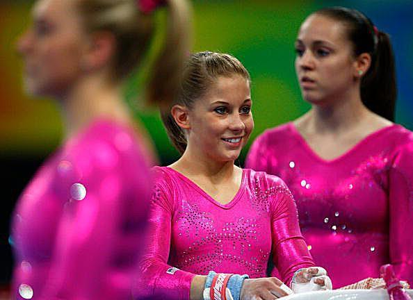 Samantha Peszek, Shawn Johnson and Chellsie Memmel at the 2008 Olympic Gymnastics podium training
