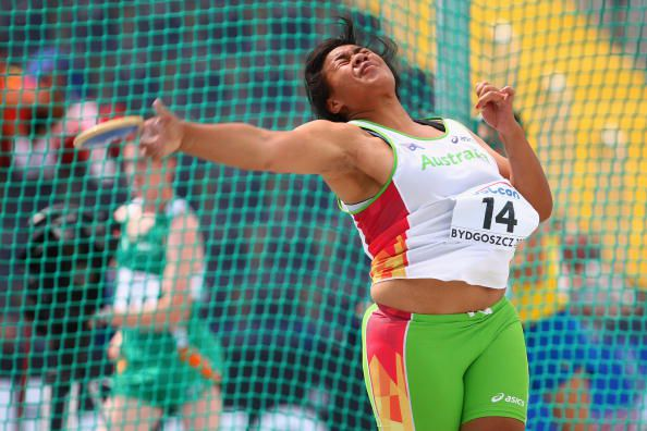 Lomana Fagatuai completes a throw during the 2008 World Junior Championships. The index finger is the last part of the thrower's hand to touch the discus.