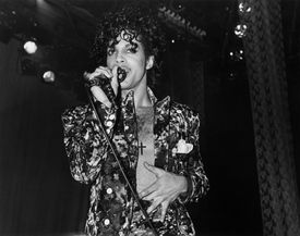 Singer song-writer and musician Prince performs at the Hollywood Palace to promote the opening of his film 'Purple Rain' on July 26, 1985 in Los Angeles, California.
