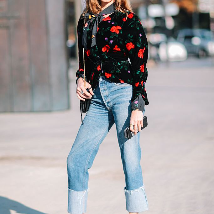 Street style floral jacket and cuffed jeans