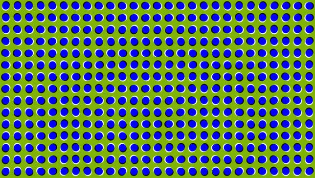 blue and green illusory motion art
