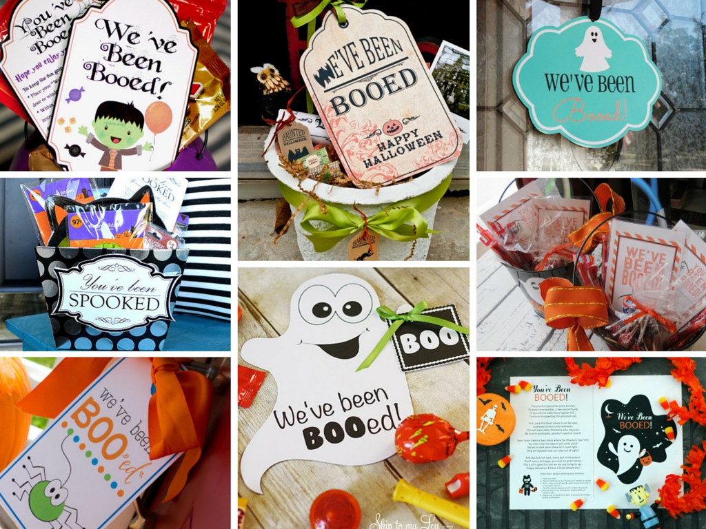 A collage of 9 sets of You've Been Boo'ed printables.