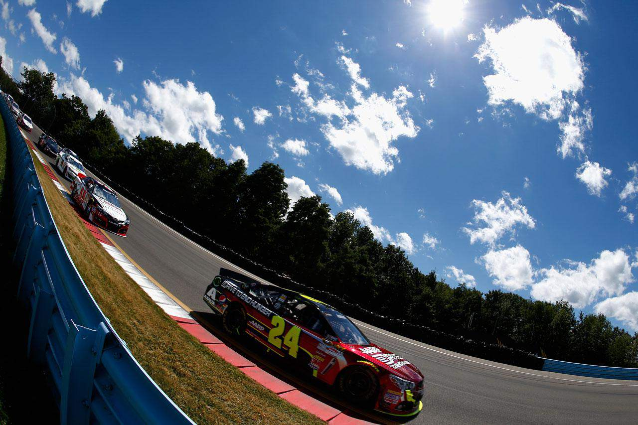 Jeff Gordon, driver of the #24 Drive to End Hunger Chevrolet, drives during the NASCAR Sprint Cup Series Cheez-It 355 at The Glen at Watkins Glen International on August 11, 2013 in Watkins Glen, New York.