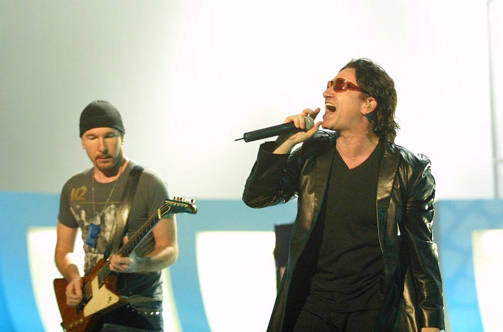 U2's Edge(L) and Bono(R) (Photo by KMazur/WireImage)