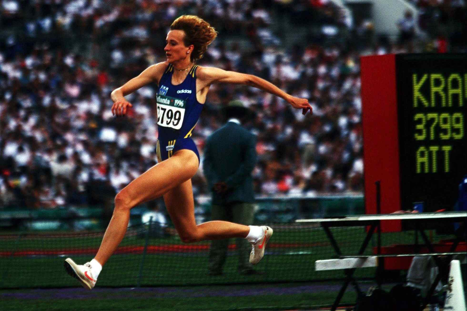 Inessa Kravets leaps to victory at the first Olympic women's triple jump competition, in 1996.