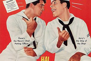 """The film poster for """"Sailors Beware"""" starring Dean Martin and Jerry Lewis"""