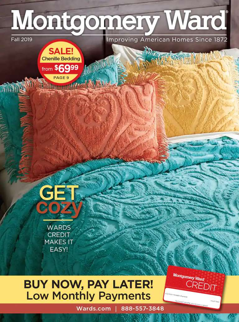 The cover of the Fall 2019 Montgomery Ward catalog featuring a bed in blue, orange, and yellow