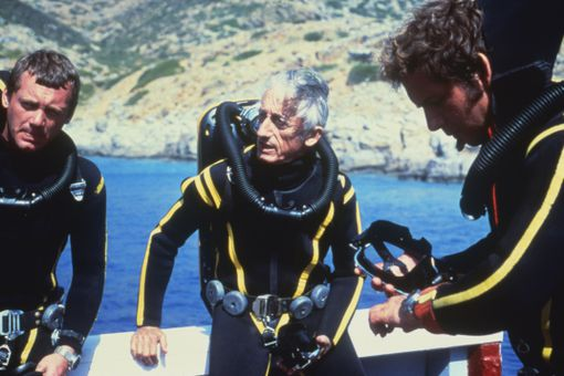 Jacques Cousteau wearing diving gear