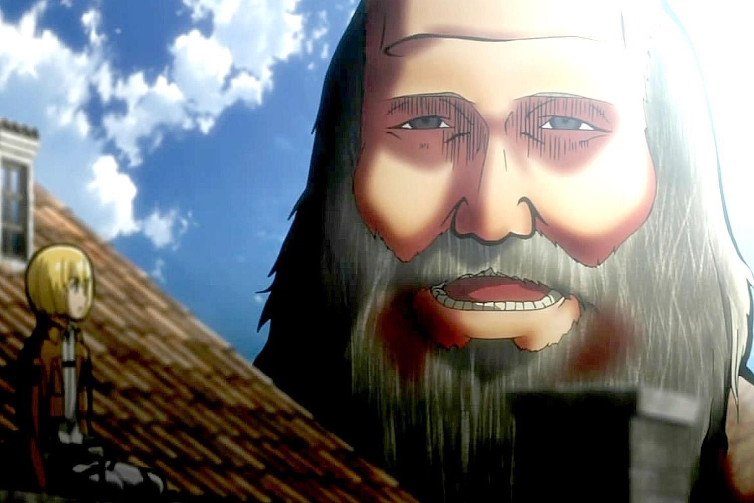 Armin and the funny bearded Titan in Attack on Titan