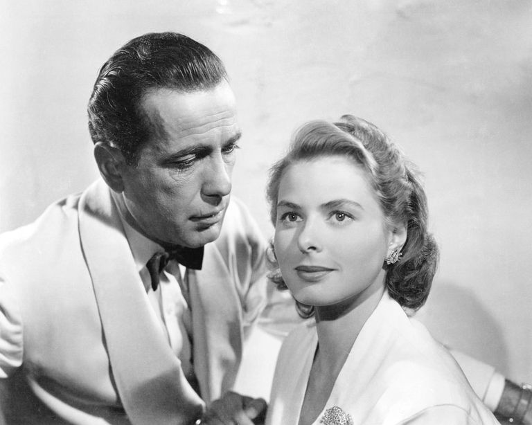 Humphrey Bogart and Ingrid Bergman in the movie <i>Casablanca</i> (1942)