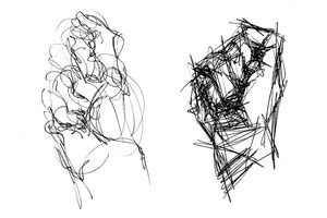 Two approaches to gestural drawing: the same fisted hand.
