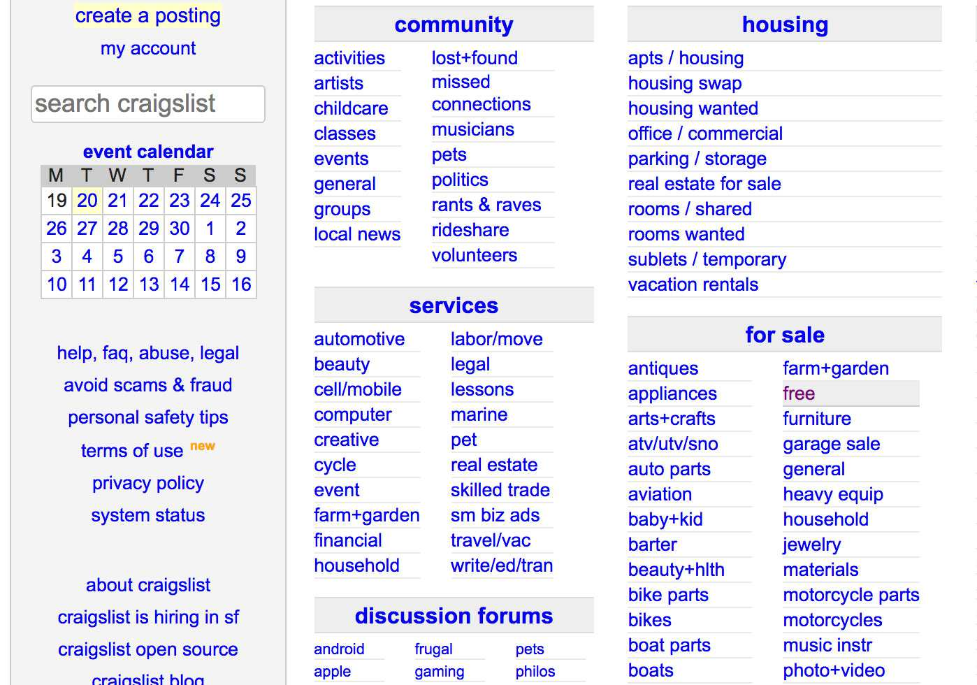 Craigslist for sale categories- free