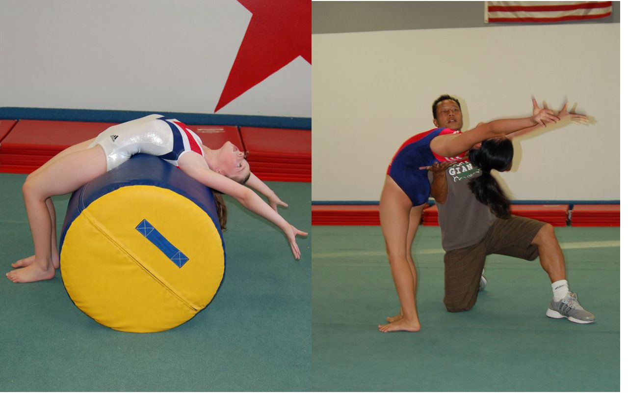 gymnasts practice backbends from standing with assistance