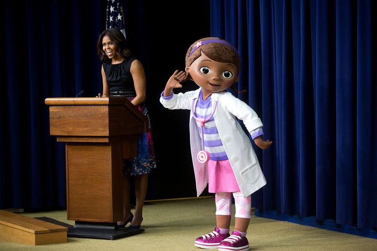 "Former First Lady Michelle Obama and Dottie ""Doc"" McStuffins"