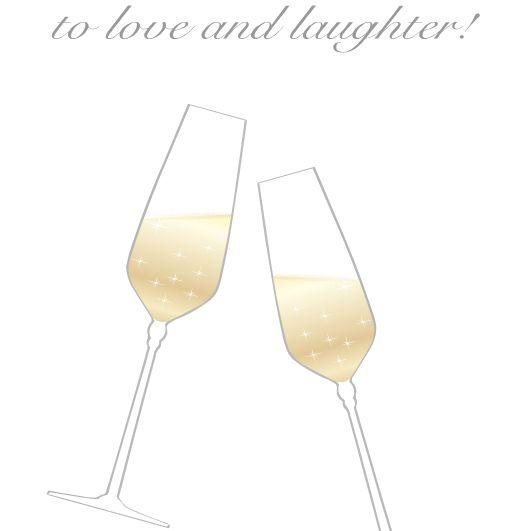 A champagne toast wedding card