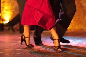Closeup of the feet of a couple dancing