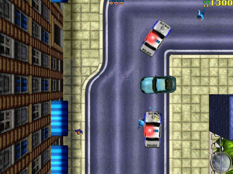 Cars and police cars in Grand Theft Auto