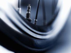 Close up of bike tire air valve
