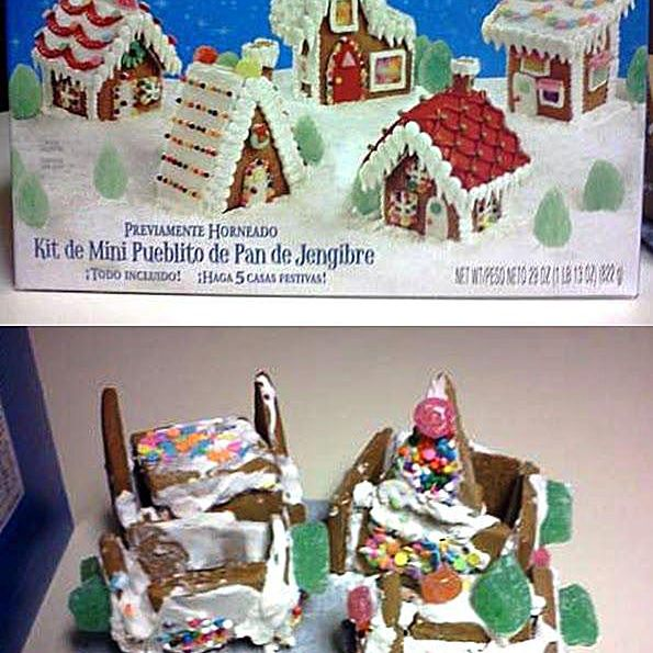 Comparison of a gingerbread village kit and the final product