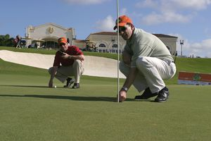 Judges measuring the closest to the pin during the tie shootout at VH1's Annual 'Fairway To Heaven' Celebrity Golf Tournament March 15, 2004