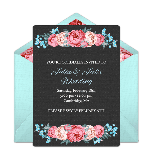 A black and blue floral online wedding invite