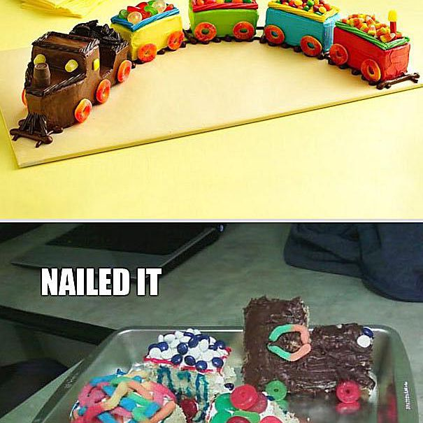 Comparison of a train cake and a failed attempt