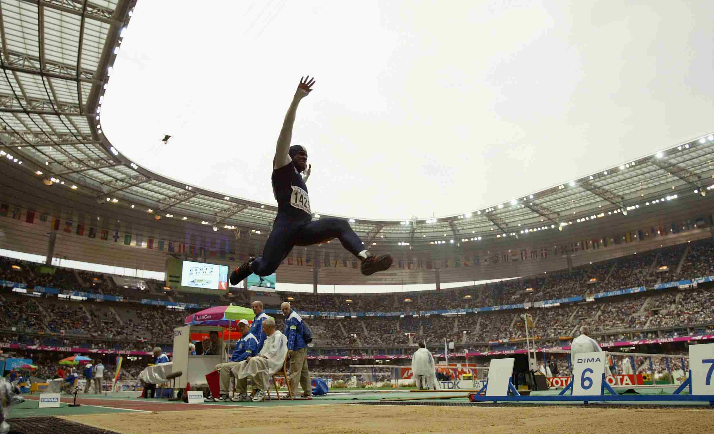 Dwight Phillips of the USA in action on his way to winning gold in the mens long jump final
