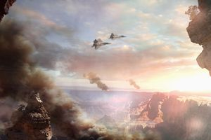 Video game image of fighter jets flying over canyon at sunset