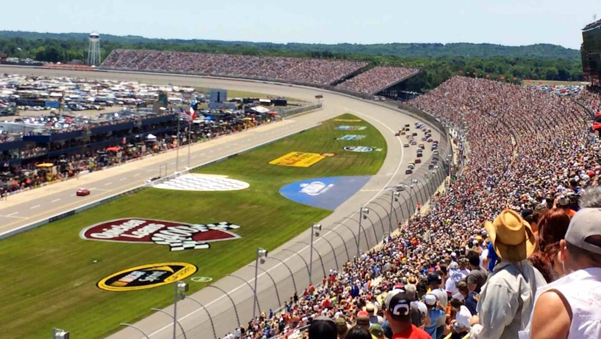 Racing action after a restart at the 2014 Quicken Loans 400 at Michigan International Speedway.