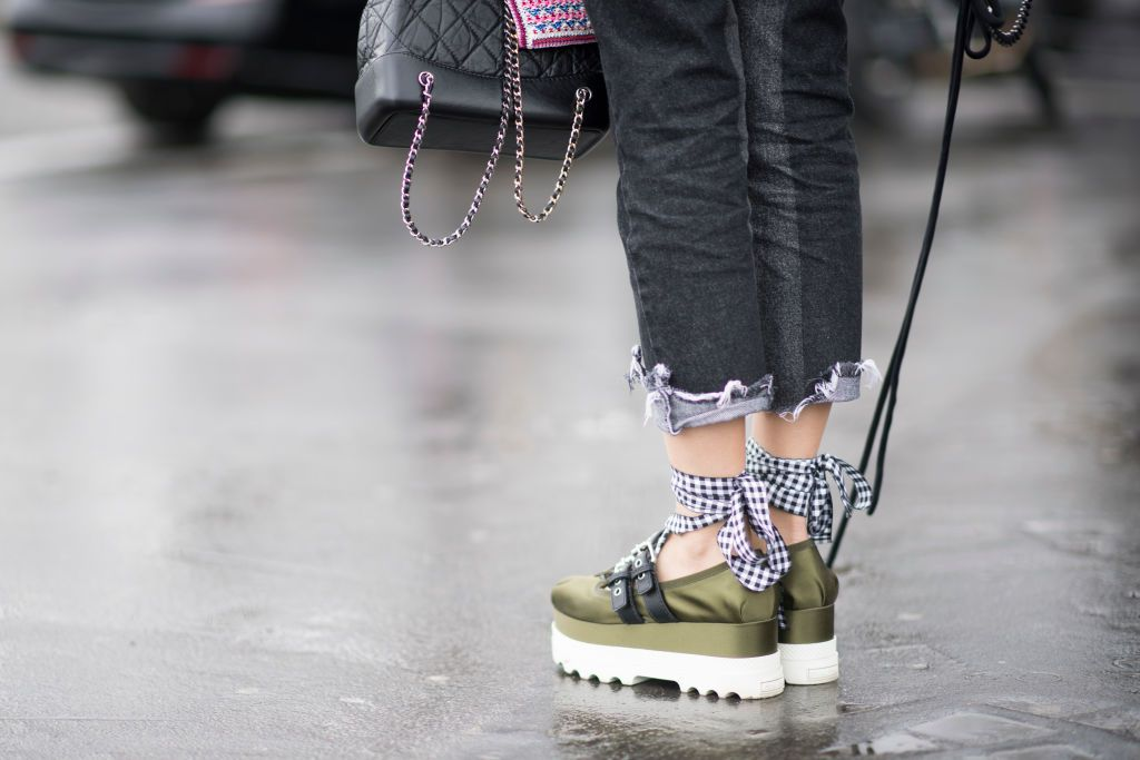 Flatform sneakers and jeans