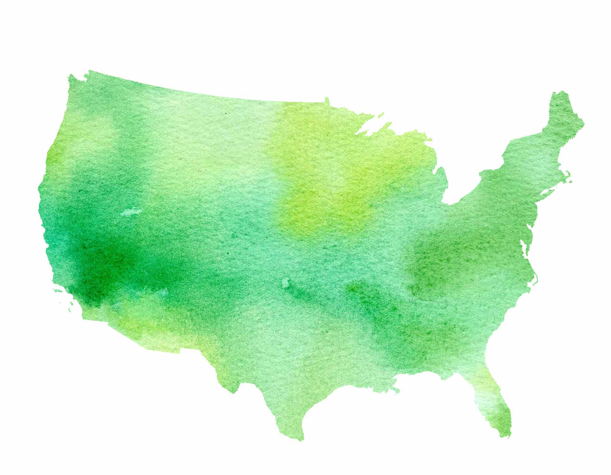 Watercolor painting of the contiguous United States
