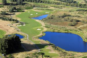 An aerial view of the 564 yards par 5, 9th hole on the Centenary Course at Gleneagles Hotel in Scotland.