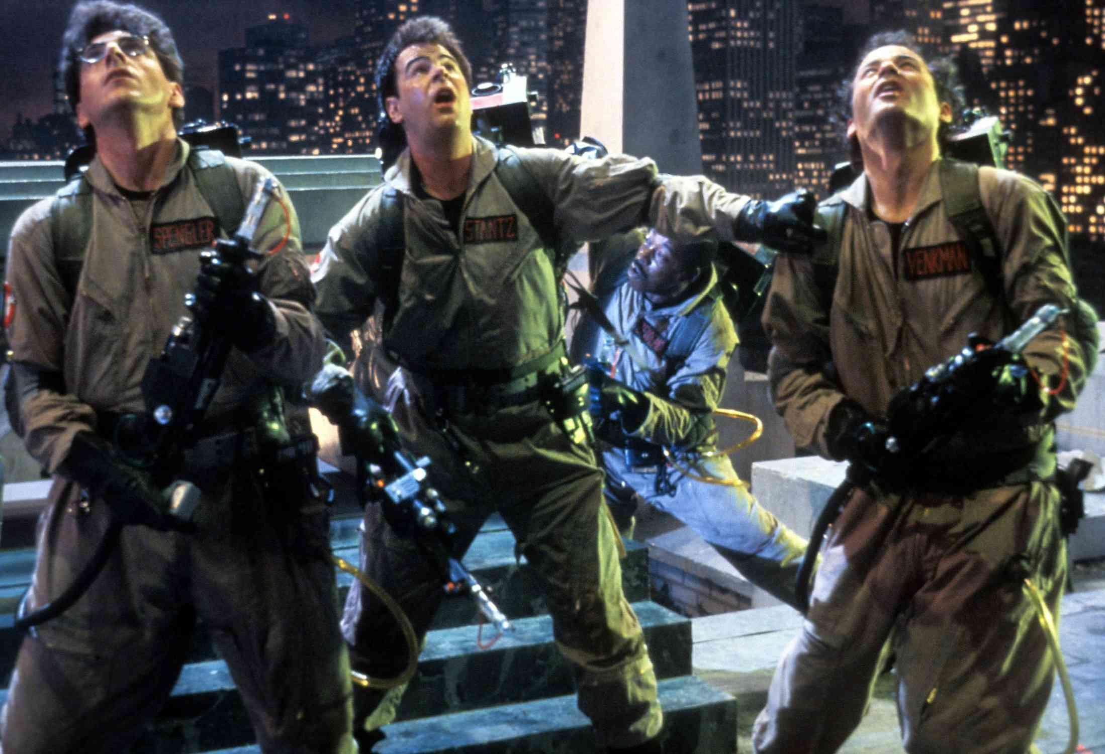 Harold Ramis, Dan Aykroyd and Bill Murray in a scene from Ghostbusters (1984)