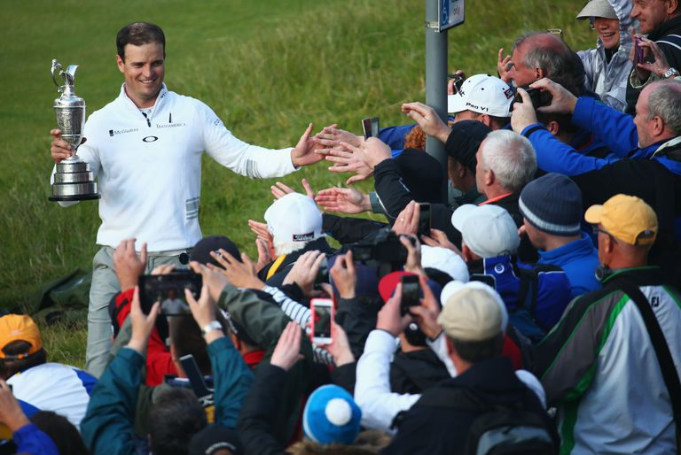 Zach Johnson with the Claret Jug after winning the 2015 British Open