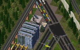 Overhead view of city and cars in The Sims