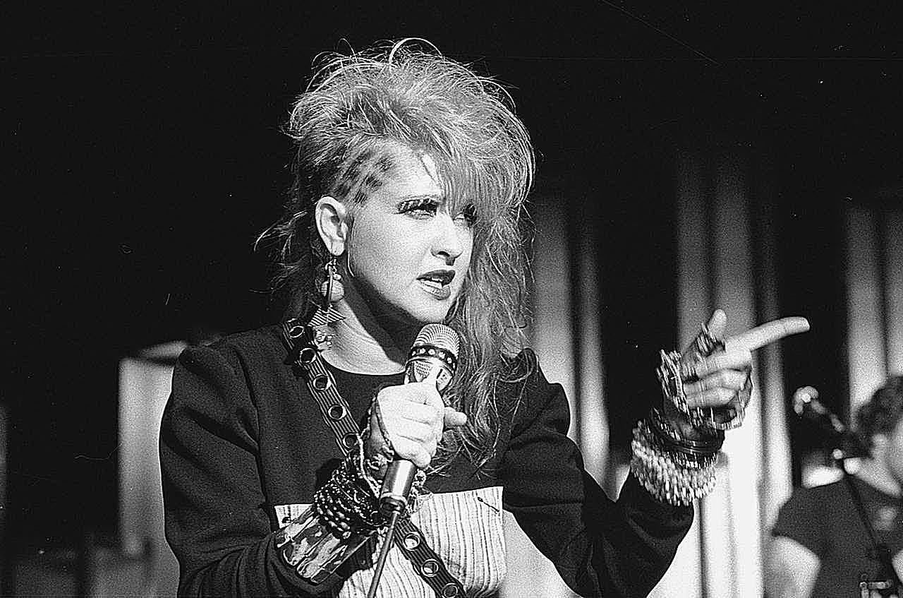 American pop singer Cyndi Lauper on stage, 1984.