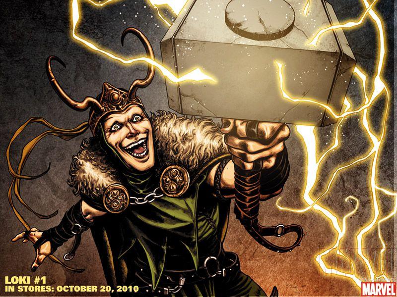 Illustration of Marvel's Loki holding Thor's hammer.