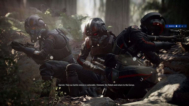 Three soldiers in wooded area from Star Wars: Battlefront II