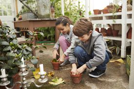 Kids in greenhouse