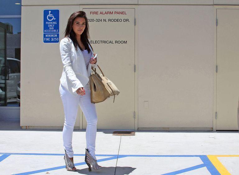 Kim Kardashian in white jeans