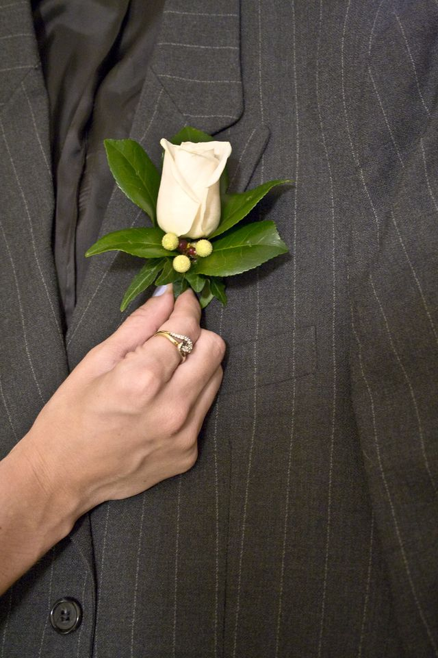 1572c9dc503 A boutonniere is always worn on the left lapel of a guys jacket. Cassandra  Morris